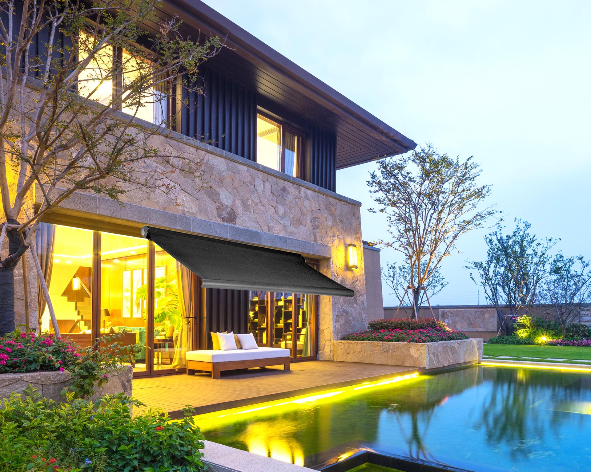 markise 4 5 3m elektronische vollkassettenmarkise terrasse sp1304 mit 2 farbe ebay. Black Bedroom Furniture Sets. Home Design Ideas