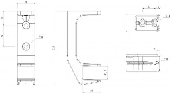 1er-Set Alu Decken Wandhalterung mit Befestigung Markise Kombihalterung 40mm SPP059 grau