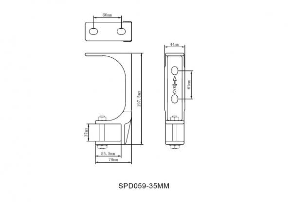 2er-Set Stahl Decken Wandhalterung für Markise Kombihalterung 35mm SPP059 Grau