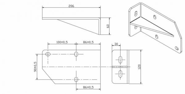Stahl-Dachsparrenhalter für Gelenkarmmarkise SPP060 Weiß