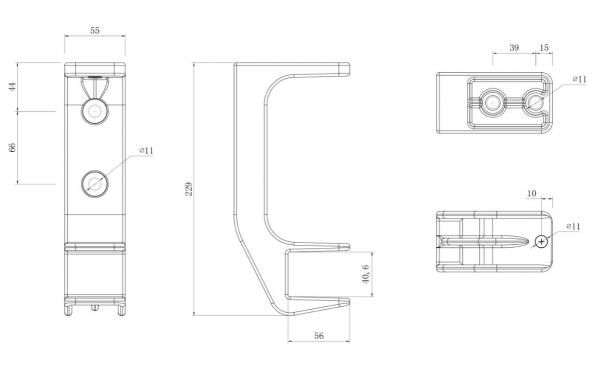 2er-Set Alu Decken Wandhalterung mit Befestigung Markise Kombihalterung 40mm SPP059 grau