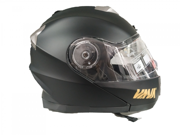 VANA-160 Motorradhelm Rollerhelm DoubleVisors Flip up Helmet Matt Schwarz in Größe 57/58cm