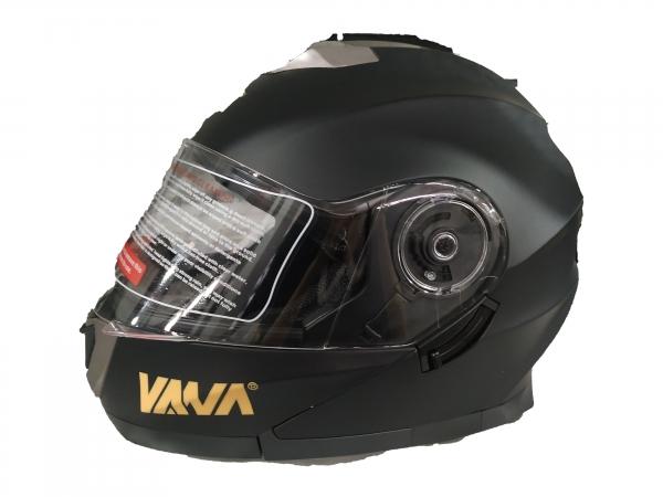VANA-160 Motorradhelm Rollerhelm DoubleVisors Flip up Helmet Matt Schwarz in Größe 59/60cm