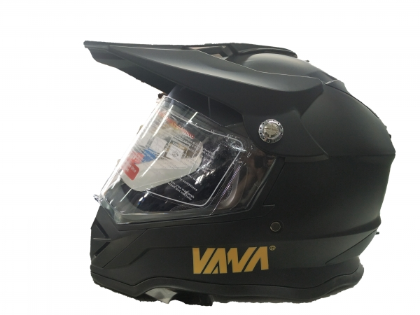 VANA-819 Motorradhelm Rollerhelm with Visor Motocross Helmet Matt Schwarz in Größe 57/58cm