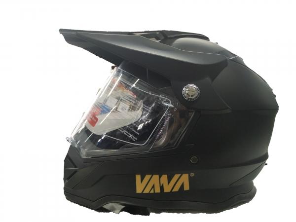 VANA-819 Motorradhelm Rollerhelm with Visor Motocross Helmet Matt Schwarz in Größe 59/60cm