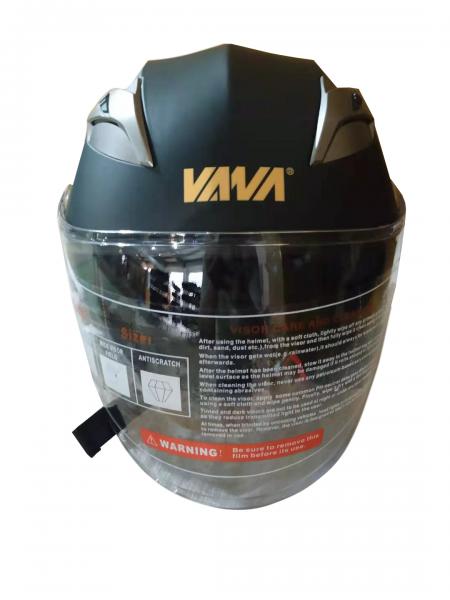 VANA-708 Motorradhelm Rollerhelm Double Visors Open Face Helmet Matt Schwarz in Größe 57/58cm