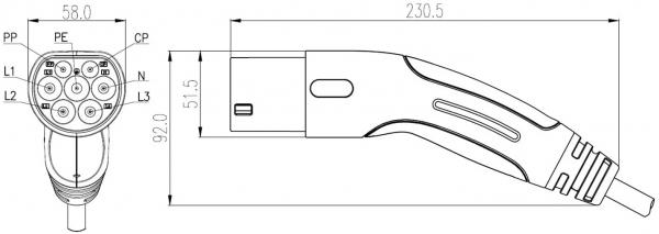 Chilye Ladekabel Hybrid- & Elektrofahrzeuge, Typ 2 auf Typ 2, 3-Phasig, 5 Meter Babel, IEC 62196-2 Elektroauto